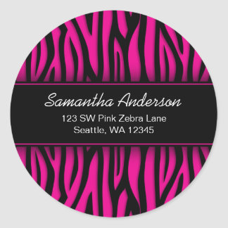 Sassy Hot Pink Zebra Custom Address Label