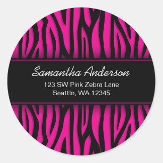 Sassy Hot Pink Zebra Custom Address Label Round Stickers
