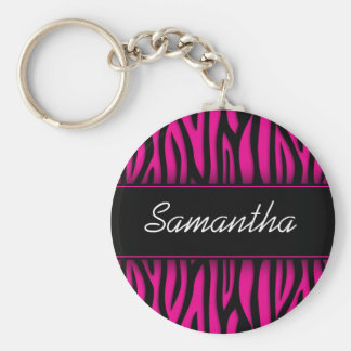 Sassy Hot Pink Zebra Personalized Basic Round Button Keychain
