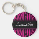 Sassy Hot Pink Zebra Personalized Key Chain