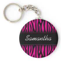 Sassy Hot Pink Zebra Personalized Keychain