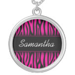Sassy Hot Pink Zebra Personalized Personalized Necklace