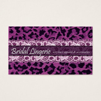 Sassy Lace Leopard Bridal Lingerie Lacy Garter Business Card