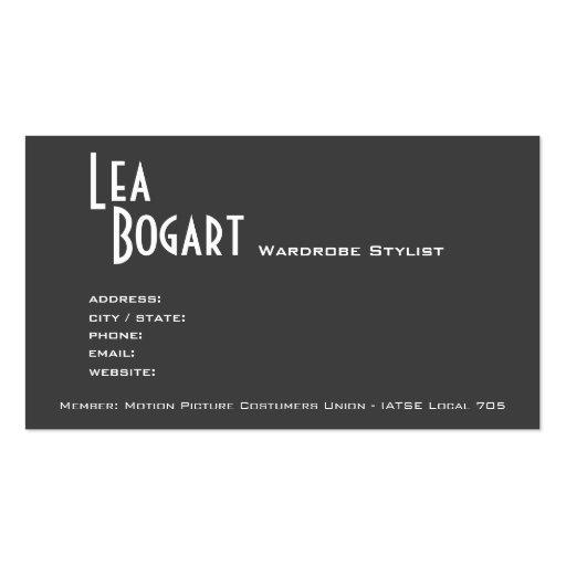 Sassy Lace Up Costume Designer Business Card (back side)