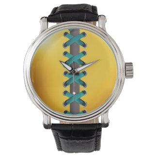 Sassy Lace Up (yellow teal) Wrist Watch