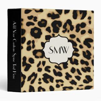 Sassy Leopard Print Monogrammed 3 Ring Binder