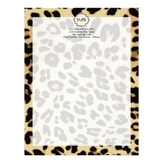 Sassy Leopard Print Monogrammed Customized Letterhead