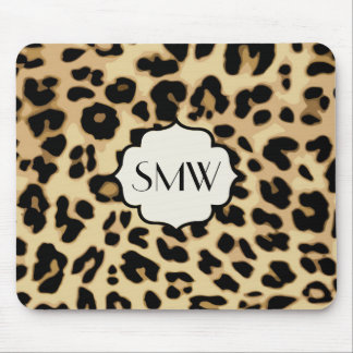 Sassy Leopard Print Monogrammed Mouse Pad