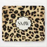 Sassy Leopard Print Monogrammed Mousepad