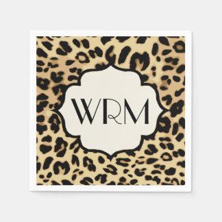 Sassy Leopard Print Monogrammed Paper Napkin