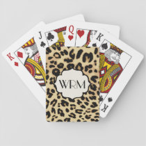 Sassy Leopard Print Monogrammed Playing Cards