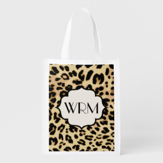Sassy Leopard Print Monogrammed Reusable Grocery Bag