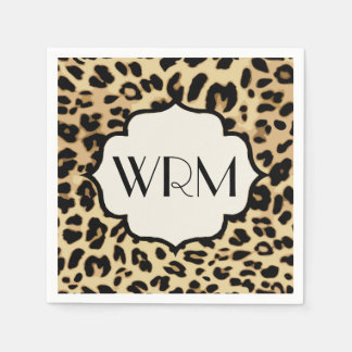 Sassy Leopard Print Monogrammed Disposable Napkin