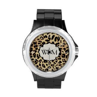 Sassy Leopard Print Monogrammed Watch