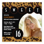"Sassy Leopard Sweet Sixteen Photo Invite [Brown] 5.25"" Square Invitation Card"