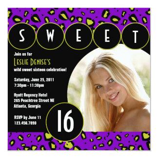 Sassy Leopard Sweet Sixteen Photo Invite [Purple]