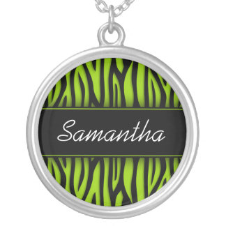 Sassy Lime Green Zebra Personalized Round Pendant Necklace