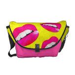 Sassy Lips fluorescent Pink Rickshaw Messenger Bag