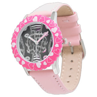 Sassy Lips Leopard Zebra Wrist Watch