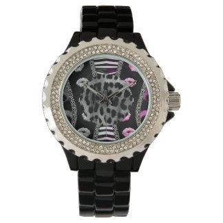 Sassy Lips Leopard Zebra Wristwatch
