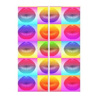Sassy Lips Pop Art Premium Glossy Quad  Canvas Canvas Print