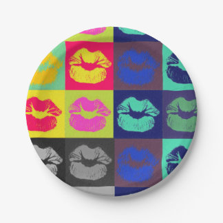 Sassy Lips Tri Colors Paper Plate