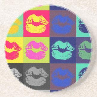 Sassy Lips Tri Colors Sandstone Coaster