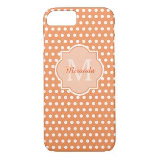 Sassy Orange Polka Dots Monogram With Name iPhone 8/7 Case