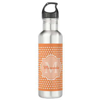 Sassy Orange Polka Dots Monogram With Name Water Bottle