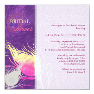 Sassy Peacock Feather Silhouette Bridal Shower Card