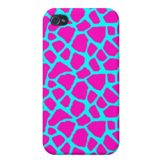 Sassy Pink and Blue Giraffe Print iPhone Case Cover For iPhone 4
