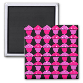 Sassy Pink and Purple Cupcakes on Black 2 Inch Square Magnet