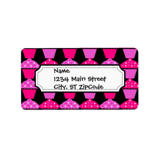 Sassy Pink and Purple Cupcakes on Black Address Label