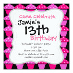 "Sassy Pink and Purple Cupcakes on Black 5.25"" Square Invitation Card"