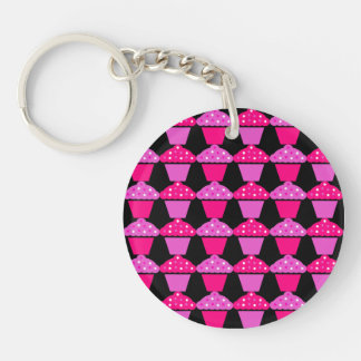 Sassy Pink and Purple Cupcakes on Black Keychain