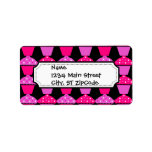 Sassy Pink and Purple Cupcakes on Black Personalized Address Label