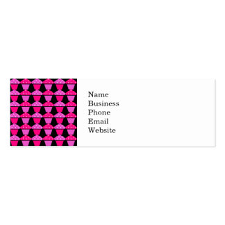 Sassy Pink and Purple Cupcakes on Black Mini Business Card