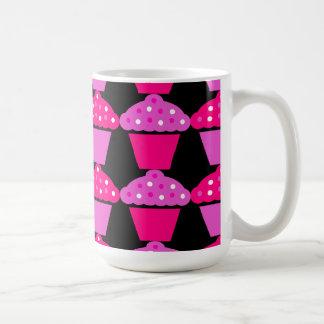 Sassy Pink and Purple Cupcakes on Black Coffee Mugs