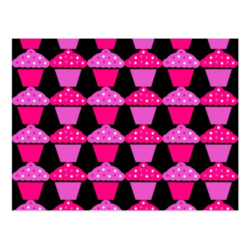 Sassy Pink and Purple Cupcakes on Black Postcard