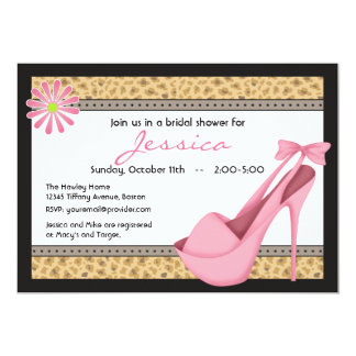 Sassy Pink Heels and Leopard Invitation
