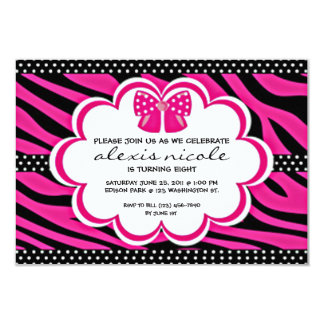 "Sassy Pink Invite 3.5"" X 5"" Invitation Card"
