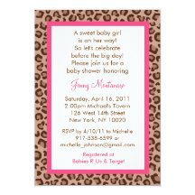 Leopard print baby shower invitations announcements zazzle filmwisefo Gallery