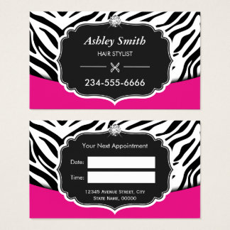 Appointment business card template arts arts pink zebra print business cards best reheart Image collections
