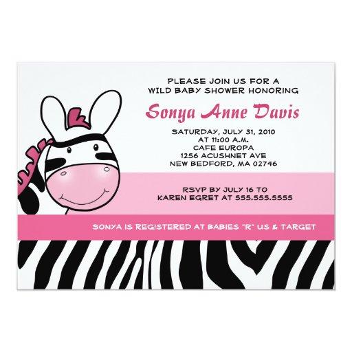 Sassy Pink Zebra Stripe Diva Baby Shower 5x7 Invit Card