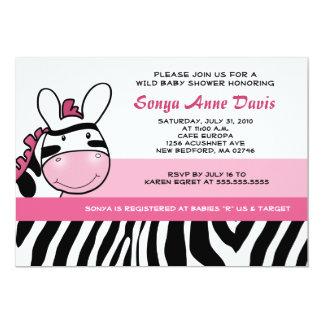 Sassy Pink Zebra Stripe Diva Baby Shower 5x7 Invit Personalized Invitation