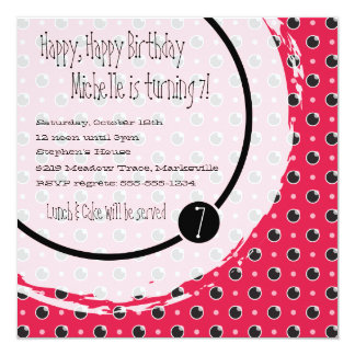 Sassy Polka Dot Square Birthday Invitation - Pink