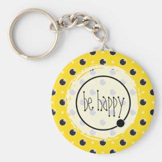 Sassy Polka Dots Be Happy Keychain - Yellow