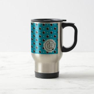 Sassy Polka Dots Monogram Travel Mug - Aqua