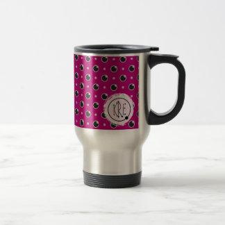 Sassy Polka Dots Monogram Travel Mug - Purple