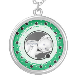 Sassy Polka Dots Photo Necklace - Green